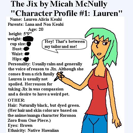 10. Character Profile 1: Lauren